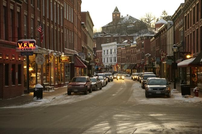 Bustling Main Street during the winter months